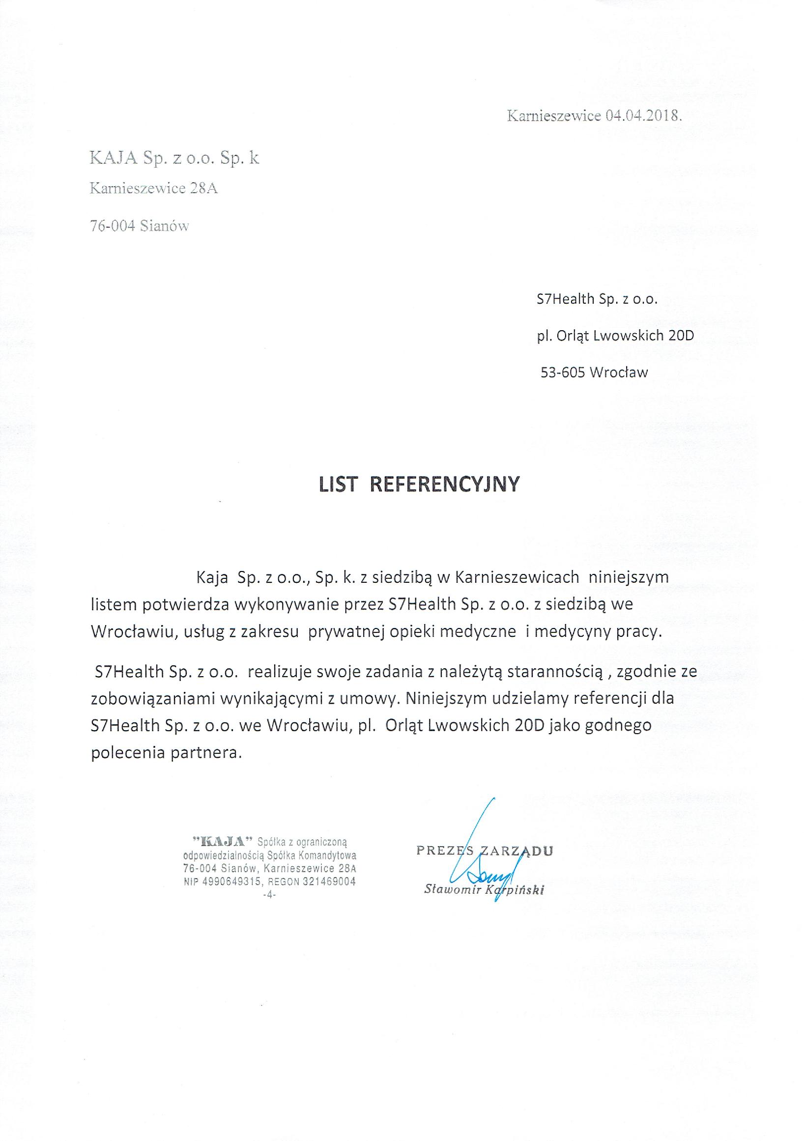 List referencyjny Kaja - Wyślij zapytanie o ofertę