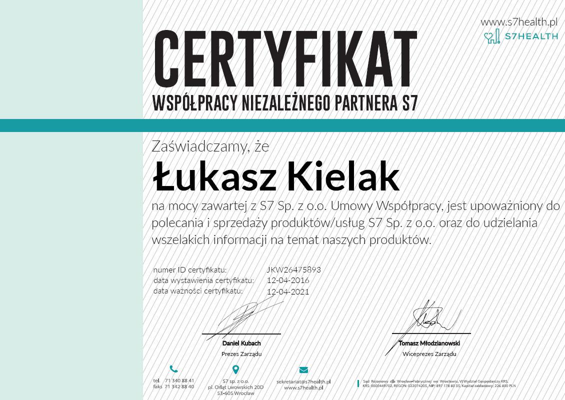 certyfikat niezaleznego partnera 1 - Kontakt